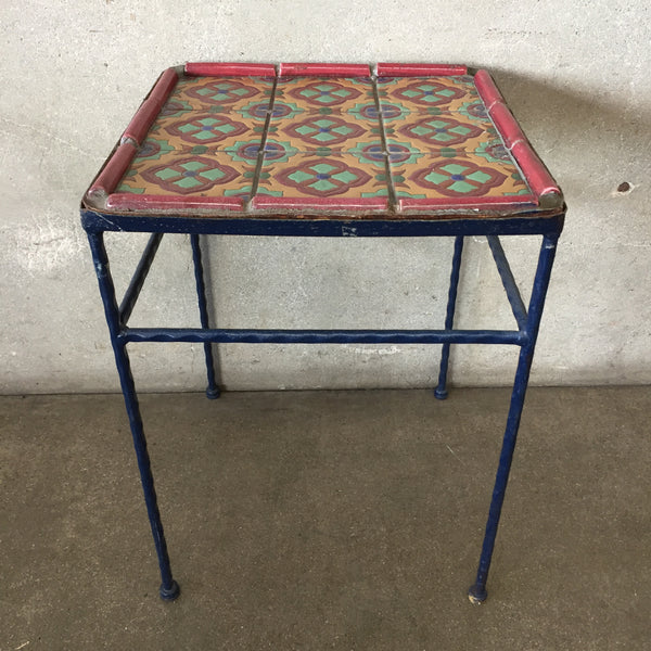 Vintage California Tile Wrought Iron Table