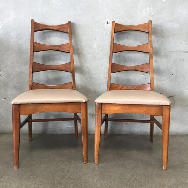 Pair of Vintage Mid Century Ladder Back Dining Chairs