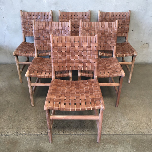 Teak And Woven Leather Dining Chairs (Set Of Six)