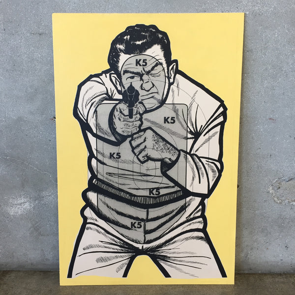 Yellow Target Guy Poster on Board-HOLD