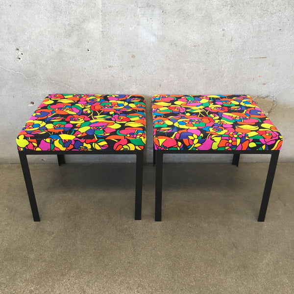 Pair of Vintage Iron Stools with New Vintage Mod Upholstery