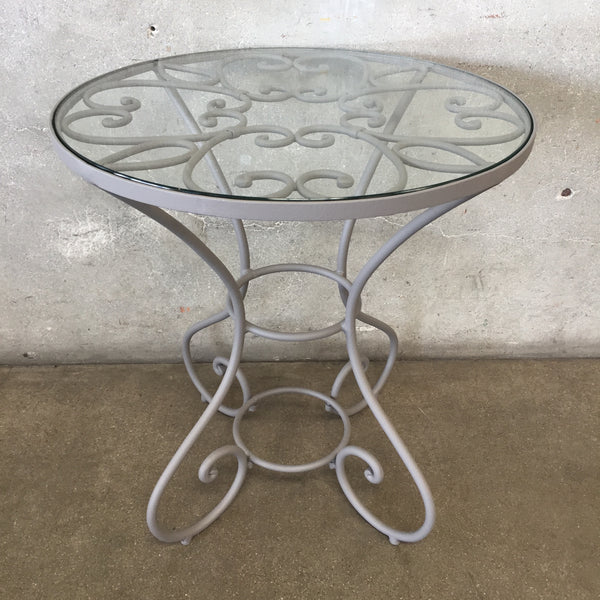 Small Vintage Iron & Glass Round Side Table