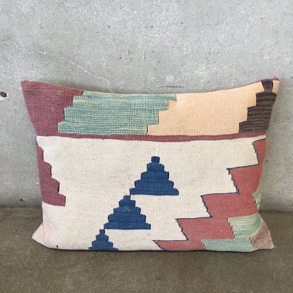 Vintage Turkish Wool Kilim Geometric Pillow