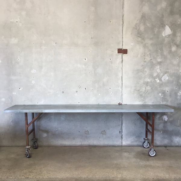 Vintage Industrial Rolling Long Table