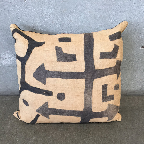 Vintage Kuba Cloth Pillow With Leather