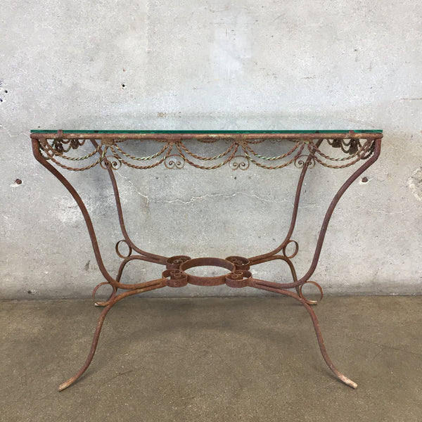 Vintage Glass Top Iron Patio Table