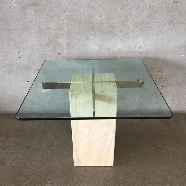Mid Century Travertine & Brass Table with Glass Top