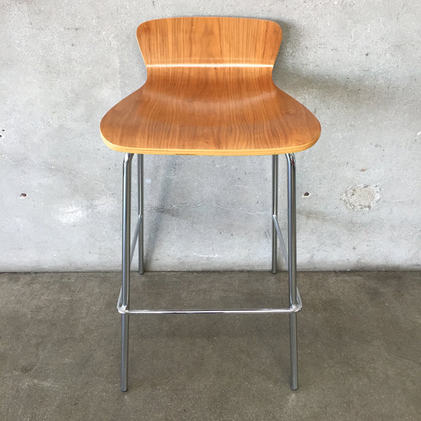 Chrome and Walnut Counter/Bar Stool