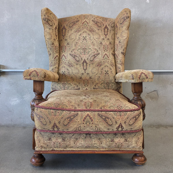 Upholstered Arm Chair with Wood Carving