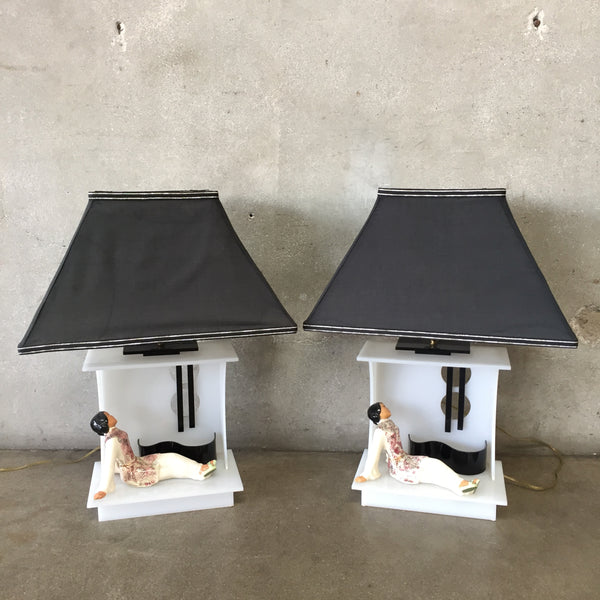 Set of Two 1950's Modernist Lamps by Moss Lighting Co.