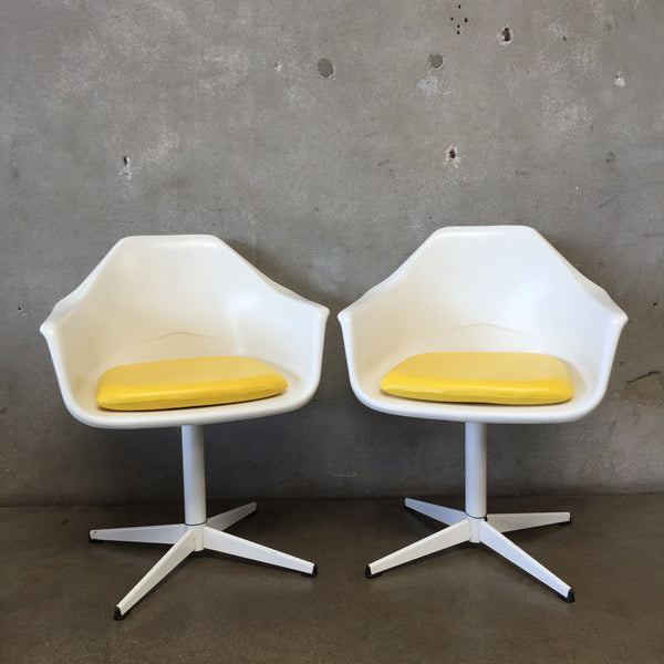 Pair of Mid century White & Yellow Tulip Chairs