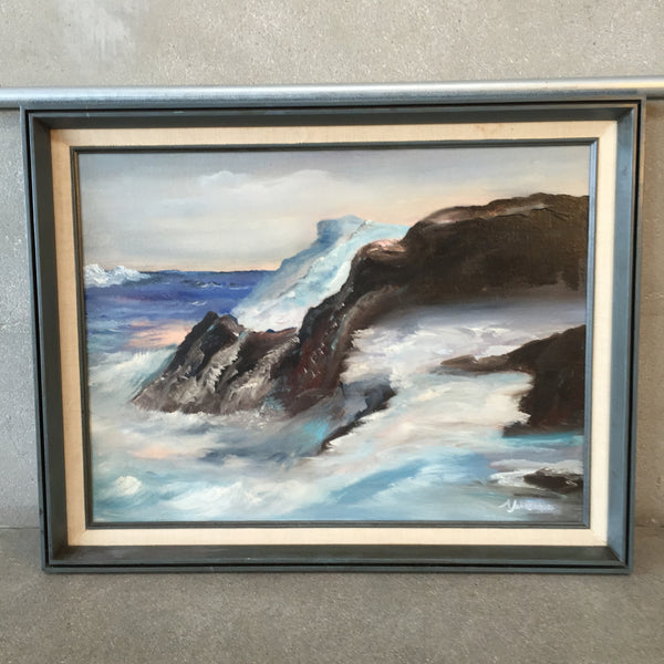 Original Oil Painting on Canvas Seascape by A. Johnson (signed)