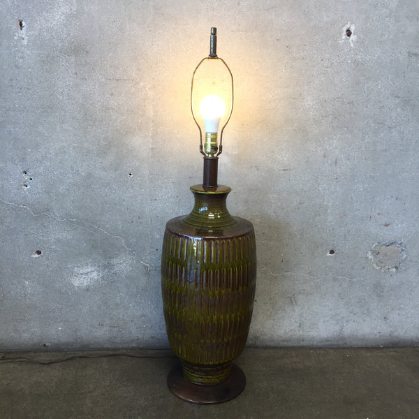 Mid Century Green & Brown Ceramic Lamp