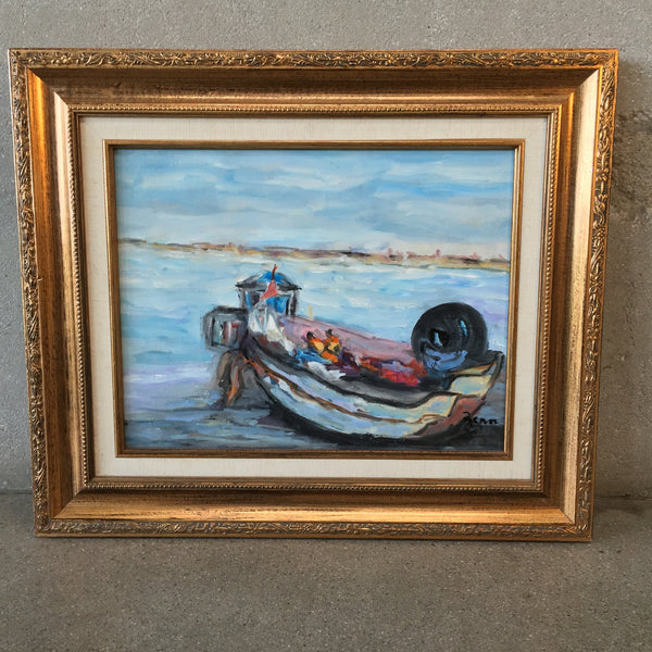 Original Oil Painting on Canvas European Boat Scene