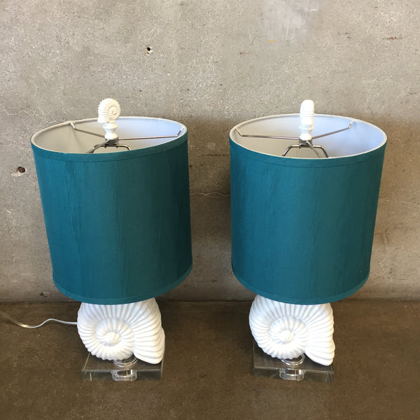 Mid Century Modern Acrylic Base White Shell Lamps