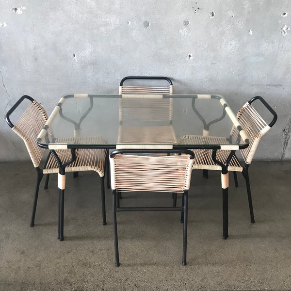 Mid Century Patio Set by Ames Aire Vinyl Cord & Glass Top