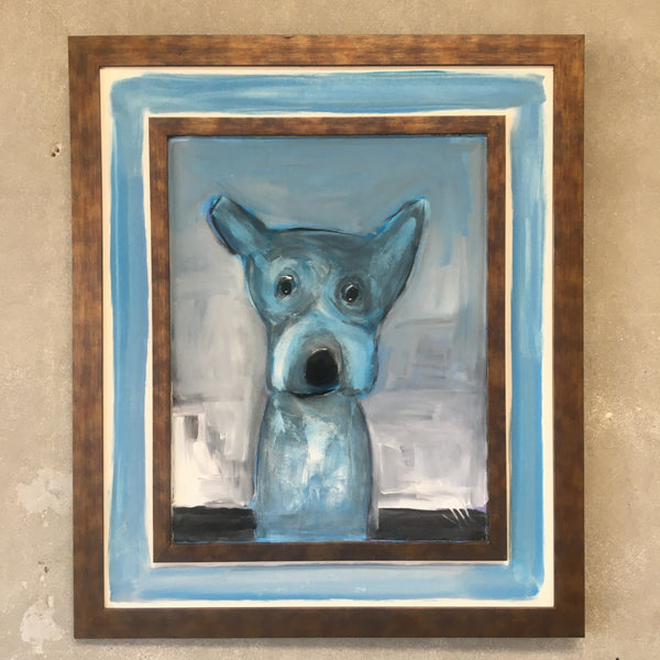 Blue Dog Painting in Frame by Jay Hill - American | 1958
