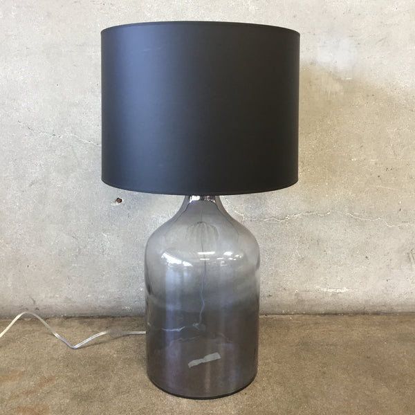 Large Glass Jar Lamp with Black Shade