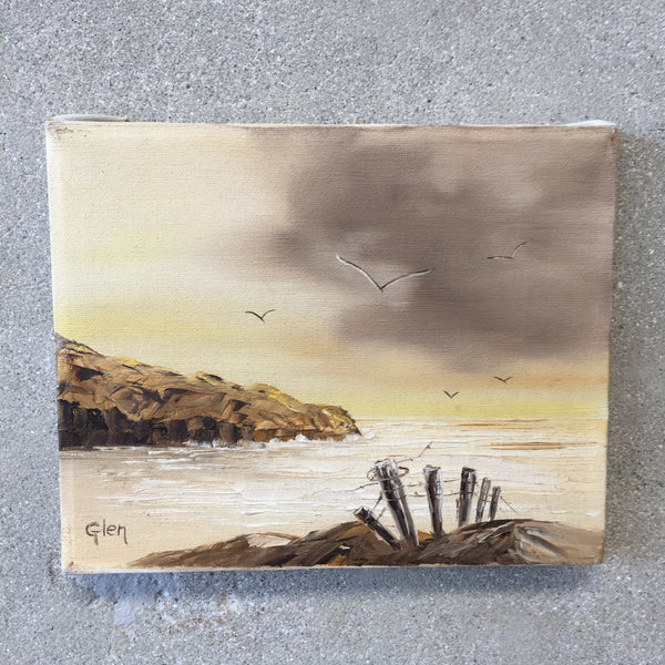 Small Original Signed Vintage Seascape-HOLD