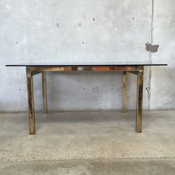 Gold & Smoked Glass Dining Table