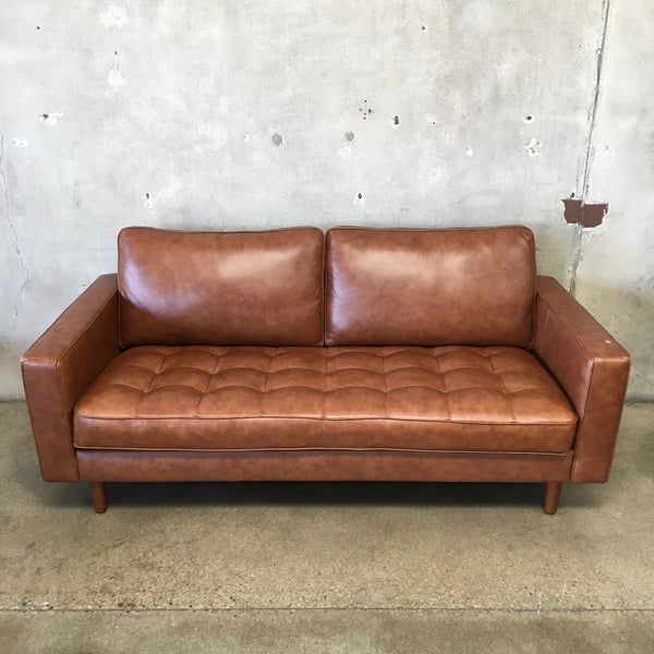 MCM Style Brown Vegan Leather Sofa