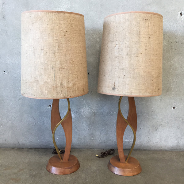 Pair of Mid Century Brass and Walnut Lamps
