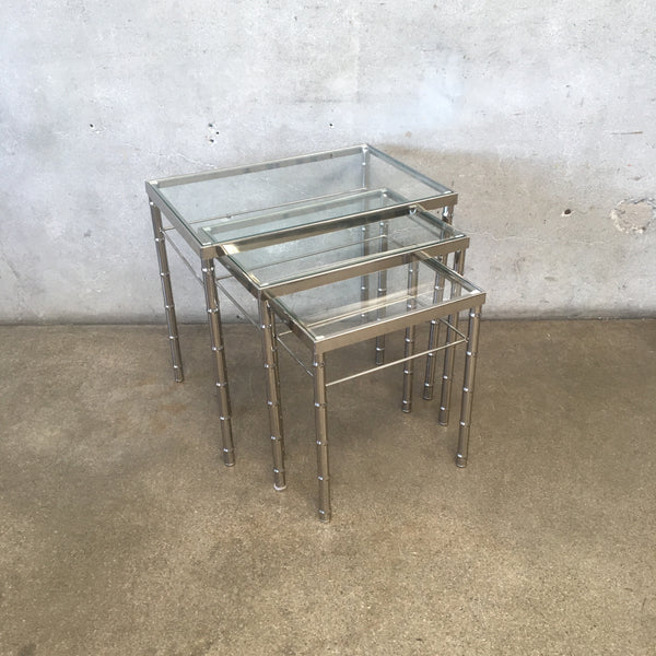 Chrome Faux Bamboo & Glass Nesting Tables