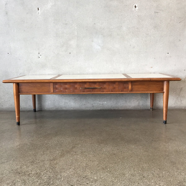 Mid Century Basket Weave Coffee Table