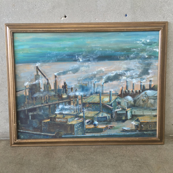 Mid Century Industrial Signed Painting
