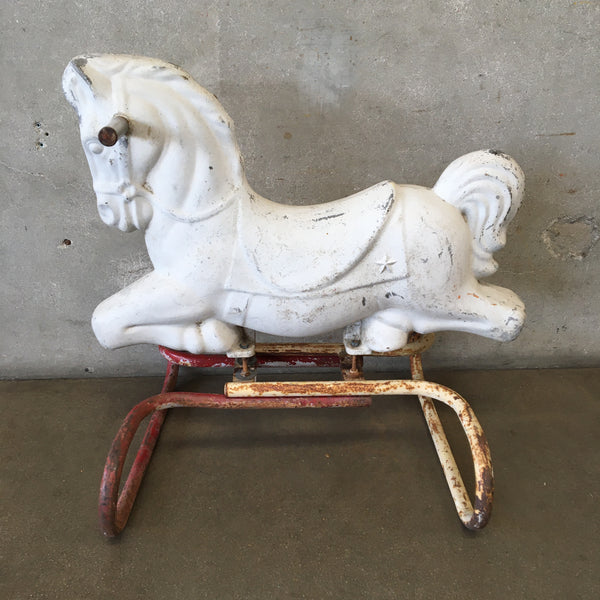 Vintage All Metal Child's Riding Horse