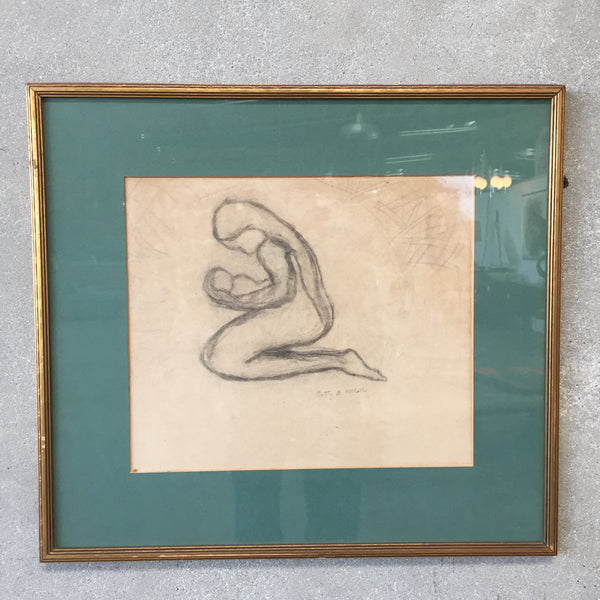 Vintage Framed Pencil Sketch