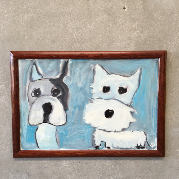 Two White Dogs Painting by Jay Hill - American | 1958
