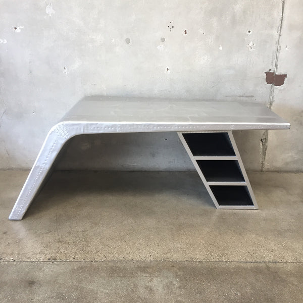 Hammered Aluminum Industrial Desk