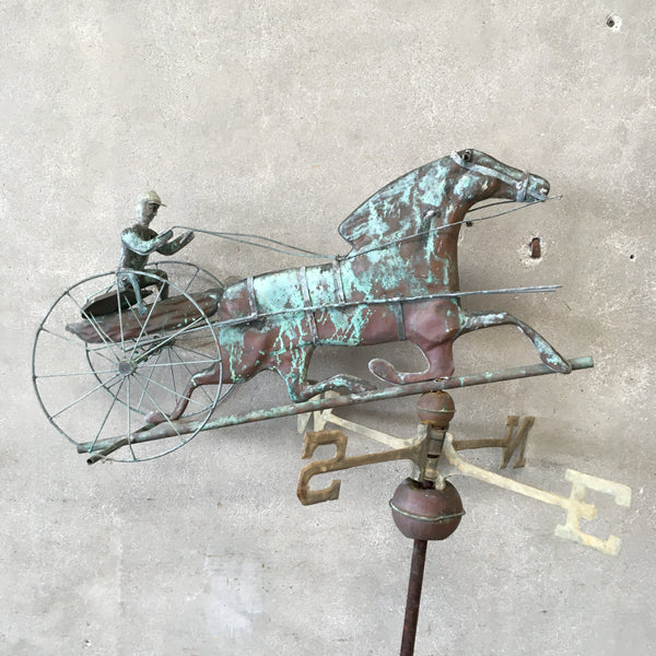 """Sulky Driver & Horse"" 20's Copper Weathervane"