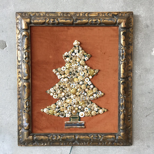 Vintage Jeweled Lighted Christmas Tree Art