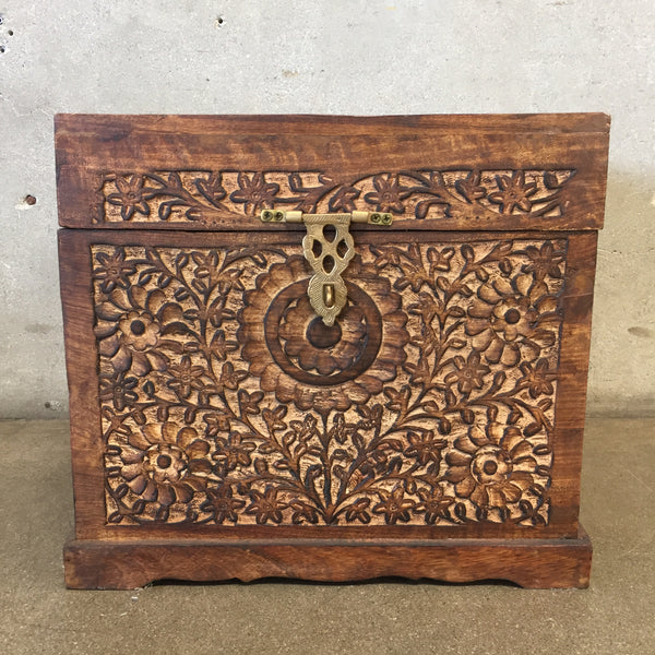 Mid Century Wood Carved Trunk