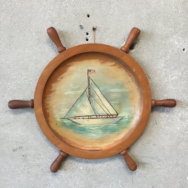 Vintage Hand Painted Ship Wheel