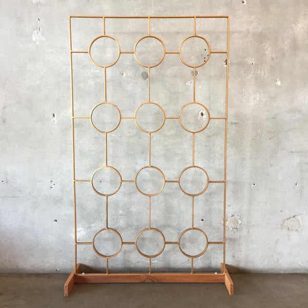 1950's Mid Century Metal Screen on Wood Stand