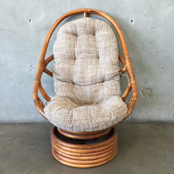 Large Vintage Rattan Swivel Chair