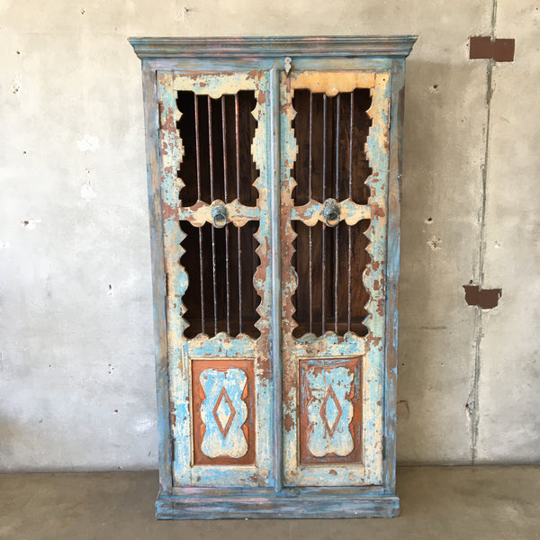 Vintage Primitive Wood and Iron Cabinet