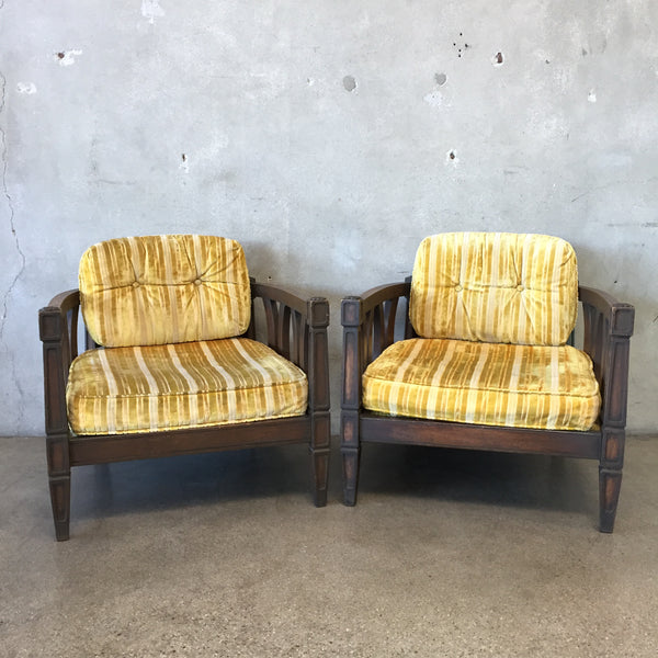 Pair of 1970's Yellow Upholstered Chairs