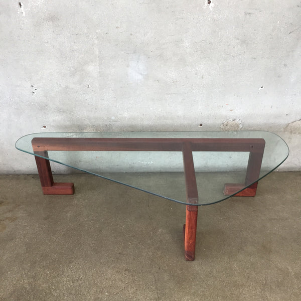 Mid Century Danish Glass Top Coffee Table