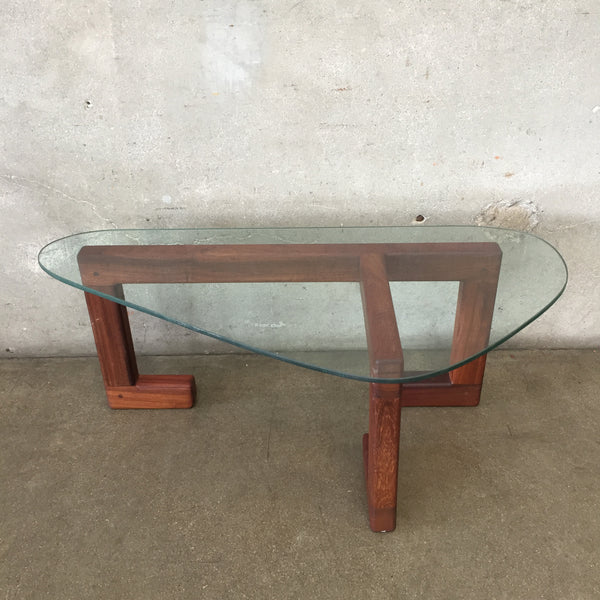 Mid Century Danish Glass Top Side Table