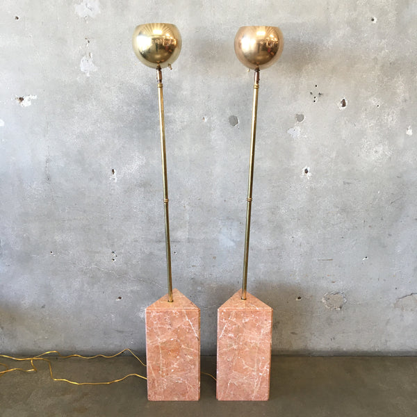 Pair of Mid Century Torchier Floor Lamps Solid Brass With Marble Bases