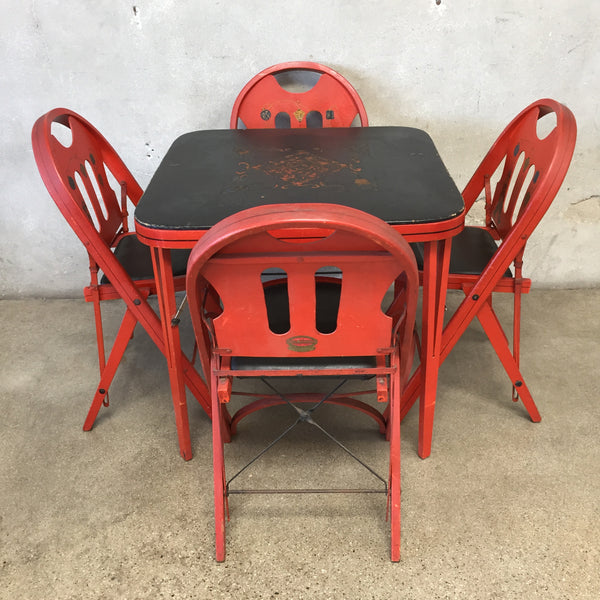 1927 Deco Solid Kumfort Folding Table & Chairs