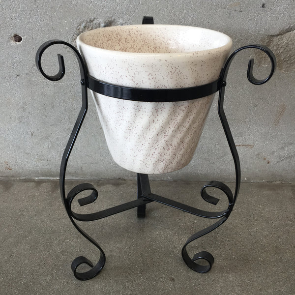 "8"" Ivory Colored Planter with Metal Stand"