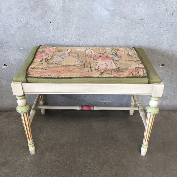 Antique 1800's French Provincial Tapestry Seat Bench
