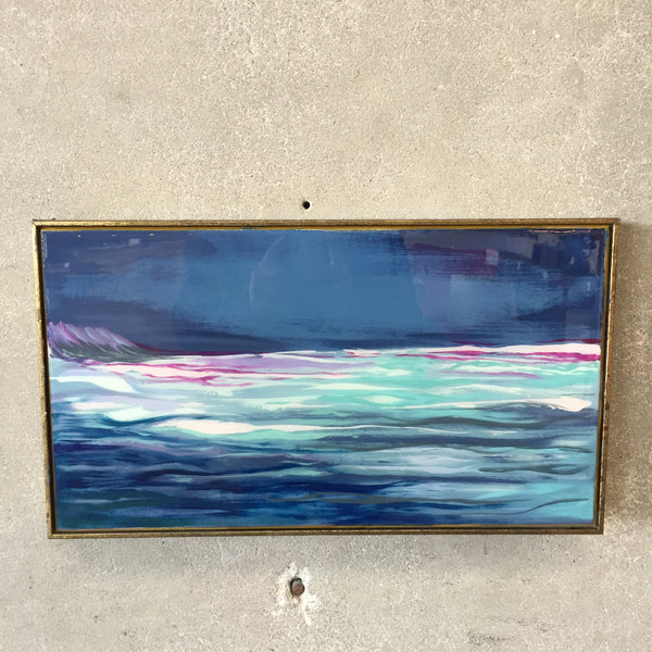 Original Oil Painting Midnight Swim with Resin Overlay