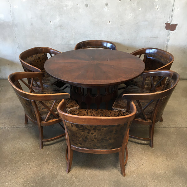 Mid Century Wood Dining Table with Six Chairs