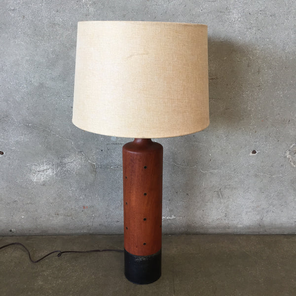 Tall Mid Century Rosewood & Brass Lamp